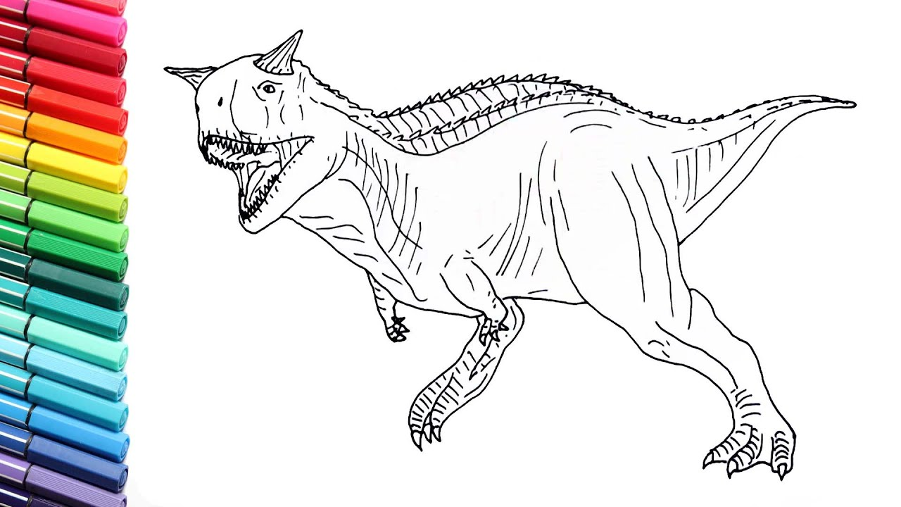 Drawing and Coloring The Carnotaur From Jurassic World -- Dinosaur Color  Pages for Kids