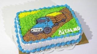 Кремовый торт с машиной Торт раскраска МК  Cream cake with machine Cake coloring MK