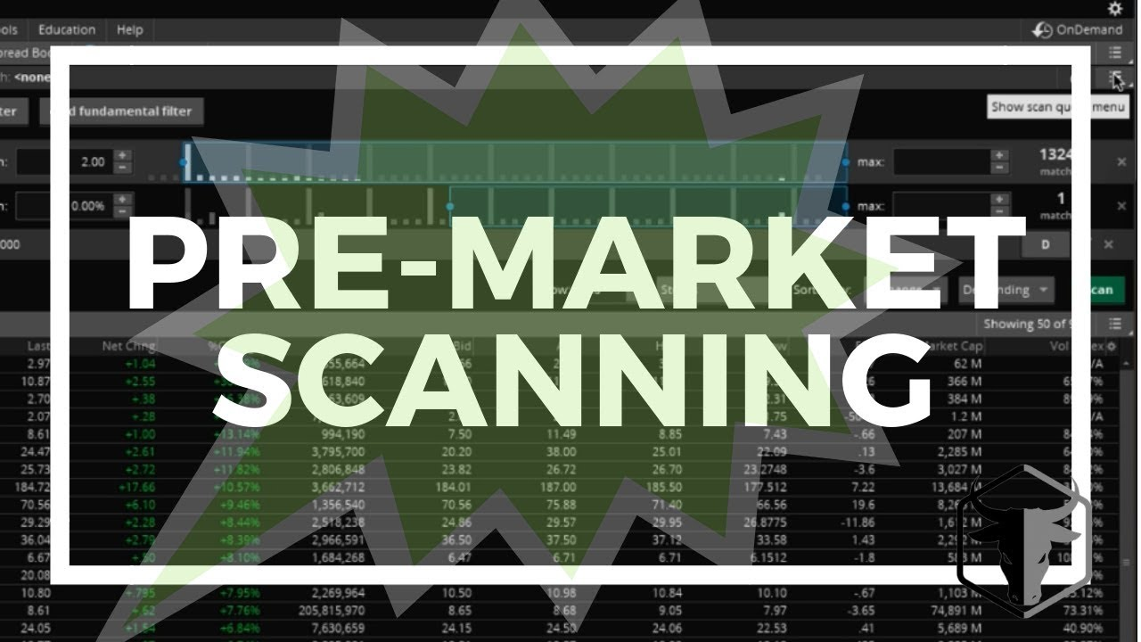 How to Scan Pre-Market on Thinkorswim (TOS) | Scanning Stocks