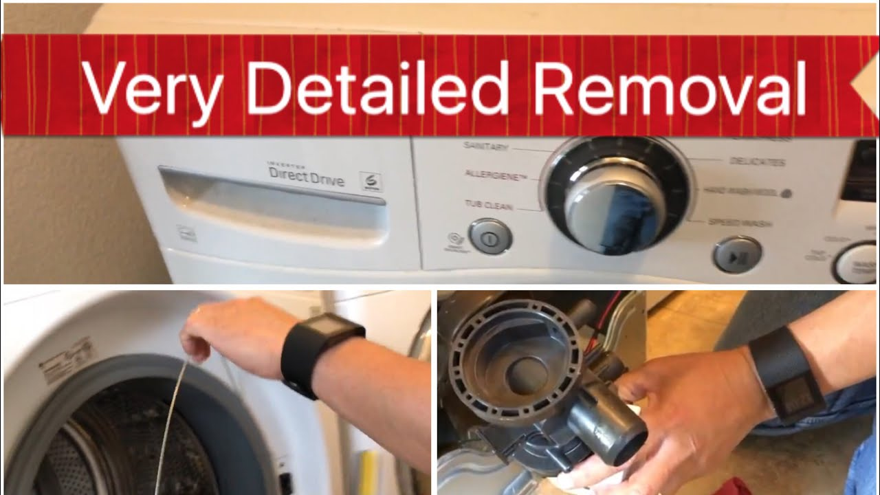 How to Remove Drain Pump from LG Washer Detailed Instructions Step by Step Pump Repair Part 1 HD