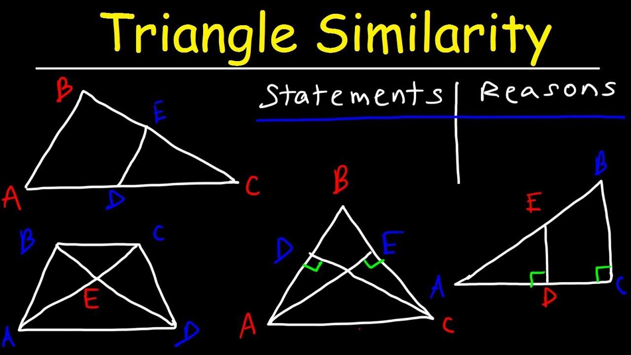 Triangle Similarity Aa Sss Sas Aaa Postulates Proving Similar Triangles Two Column Proofs Youtube