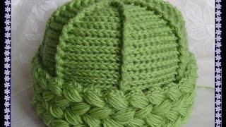 Вяжем крючком - шапочка с отворотом из пышных столбиков