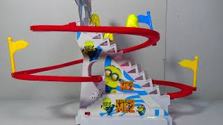 PJ Masks And Minions Slide Toy w/ Flashing Lights under the stairs! Awesome Battery Operated Toy!
