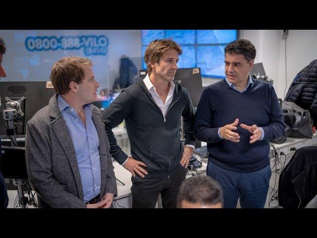 Jorge Macri, Alex Campbell y Segundo Cernadas en el Centro de Monitoreo de Vicente López