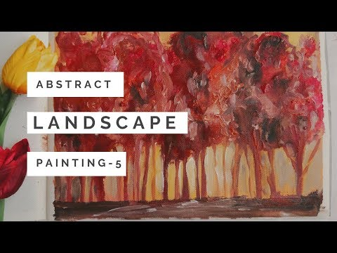 Quick and easy abstract painting of trees | acrylic painting techniques for beginners |Daily art