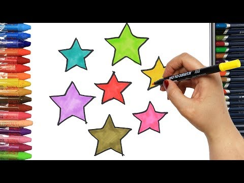 How to draw colorful stars | Colors | Drawing and Painting | How to color | Coloring for children