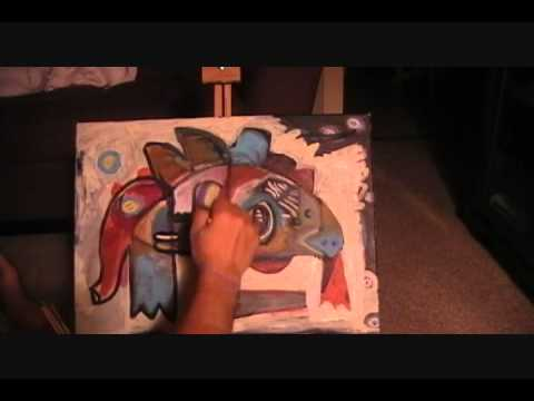 Time Lapse Painting – Outsider Folk Art – Painting over another painting
