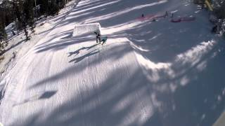 Insane Snowboard Fall. Never Stand in the Landing of a Ski Jump
