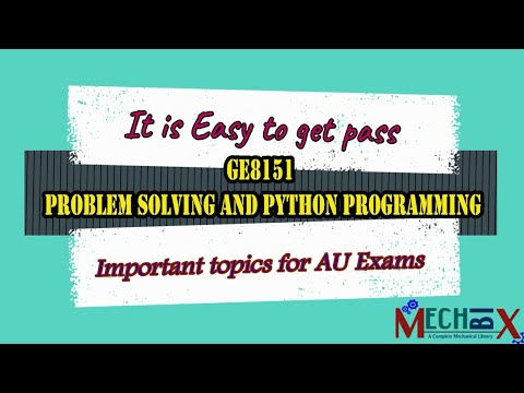 GE8151 Problem Solving And Python Programming - PSPP - Python Important Questions Bank And Topics