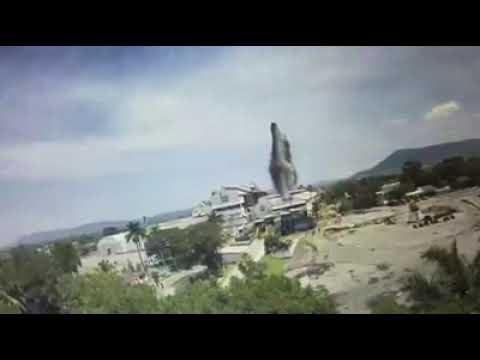 Momento exacto de la caída del ingenio de Zacatepec Morelos (Terremoto 19/Septiembre/2017)