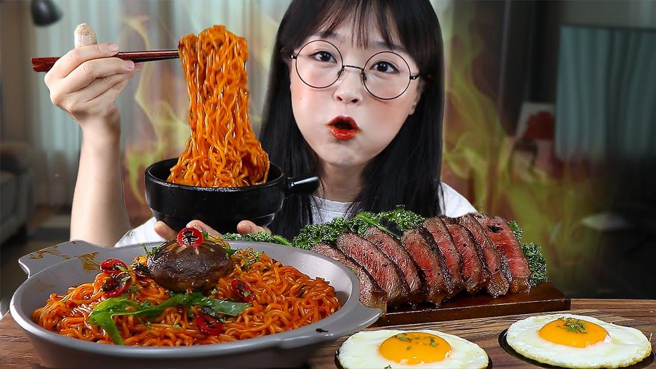 맵찔이의 신라면볶음면 먹방🔥😝 스테이크 계란후라이 까지! SPICY SHIN RAMYEON MUKBANG | EATING SOUNDS