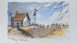 A Pen and Wash Watercolour. Fall Twilight Shadow Demonstration using only 3 colors.