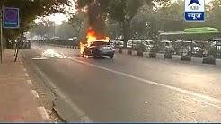 Car catches fire in Delhi's RK Puram