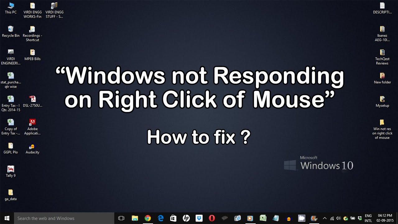 cant right click desktop icons windows 10