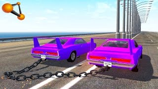 BeamNG.drive - Chained Cars against Bollard #2
