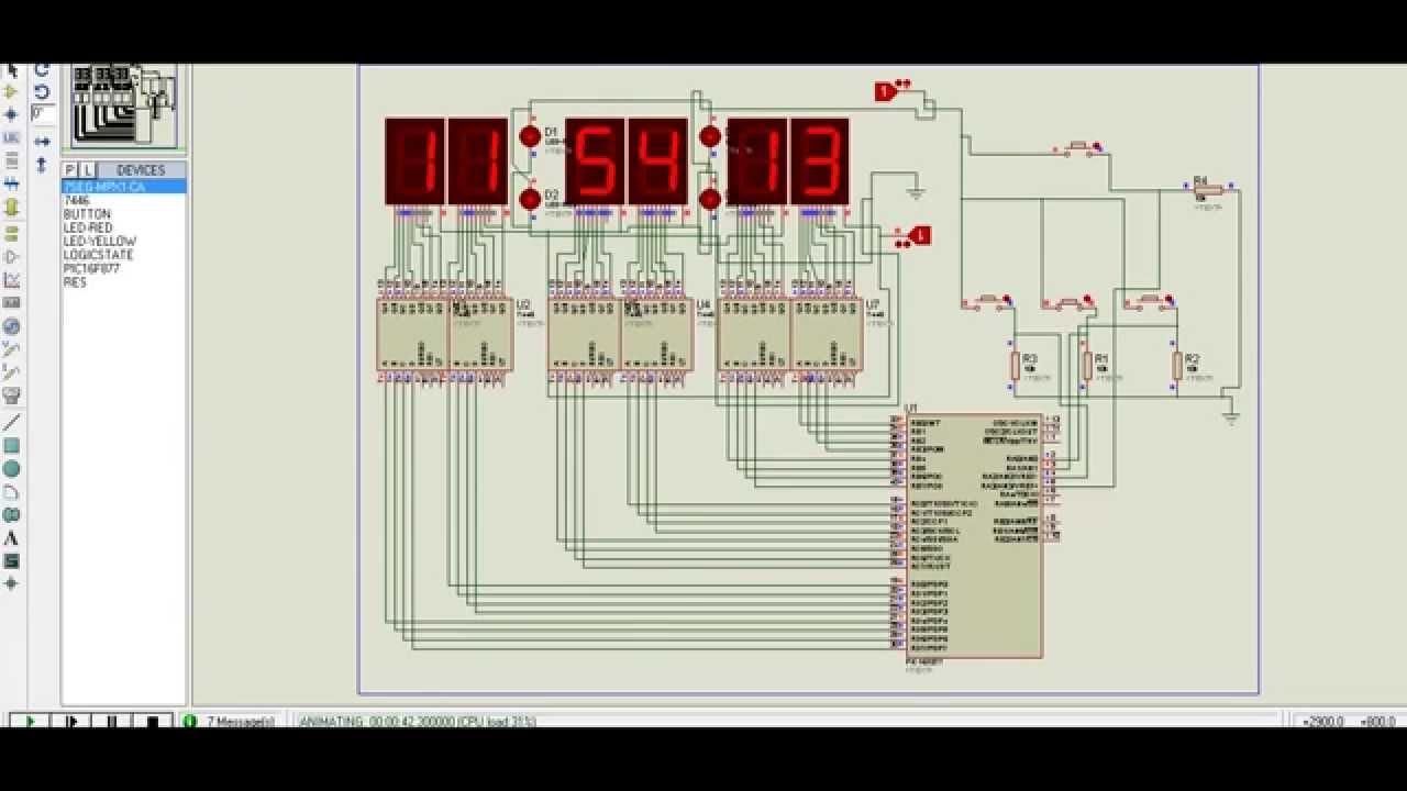 6 dijit, 7 segment, saniye göstergeli, ayarlı saat - YouTube