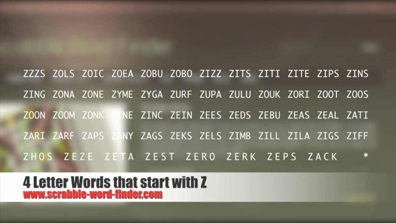 letter words ending in r 4 letter words that start with z 7