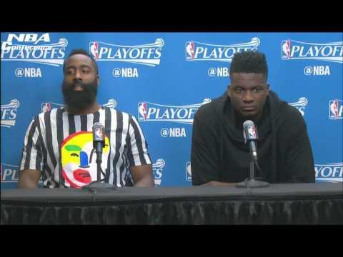James Harden & Clint Capela Interview Rockets vs Spurs Game
