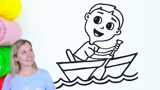 How to Draw a Boy in a boat in water