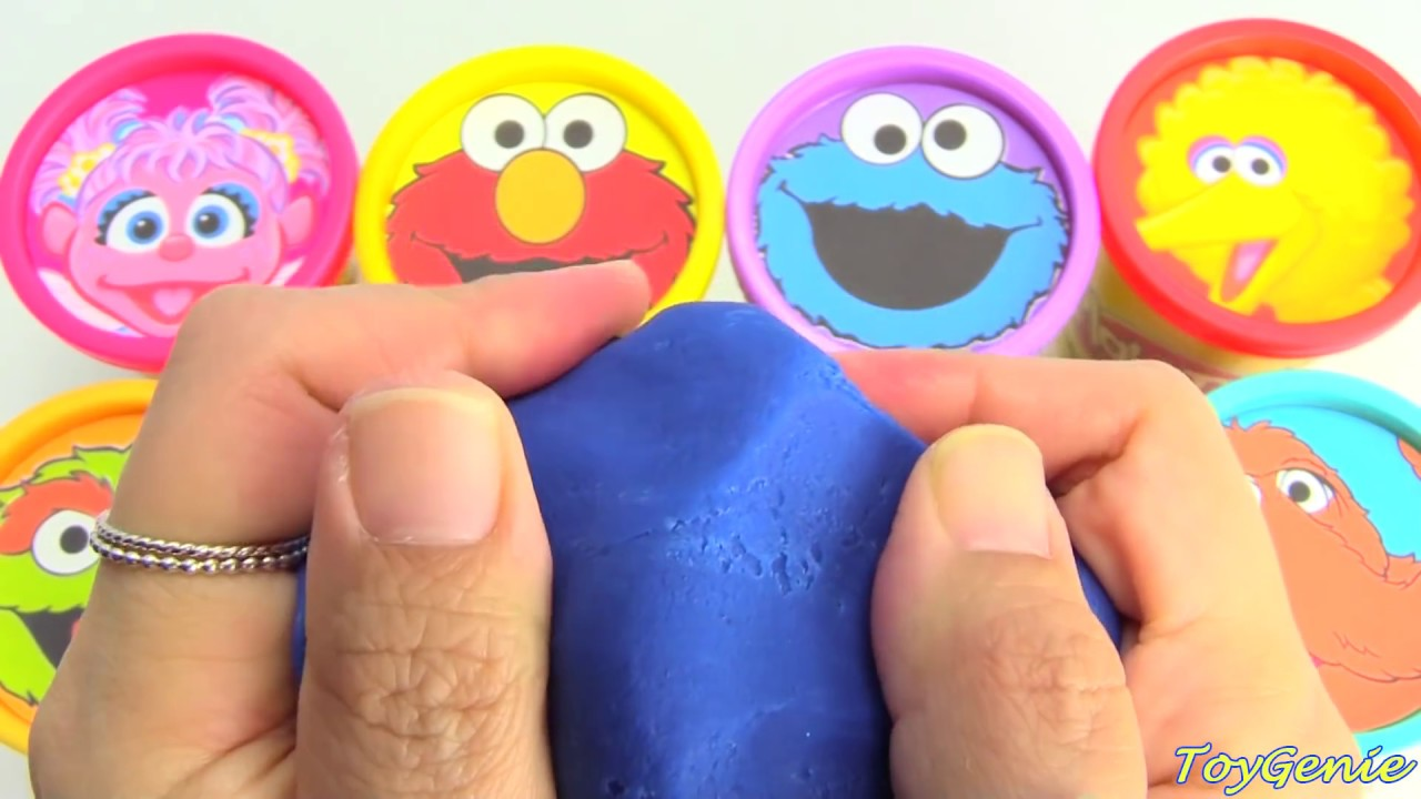 Sesame Street Play Doh Surprises Learn Colors with Elmo Cookie Monster