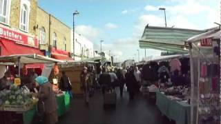 Walking through Ridley Road  Street Market, Dalston, London, UK; 18th November 2011