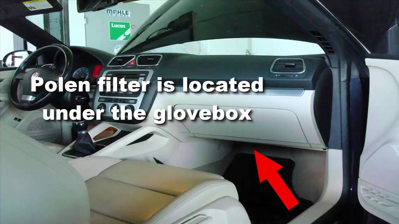 small resolution of volkswagen eos polen filter and obd connector location