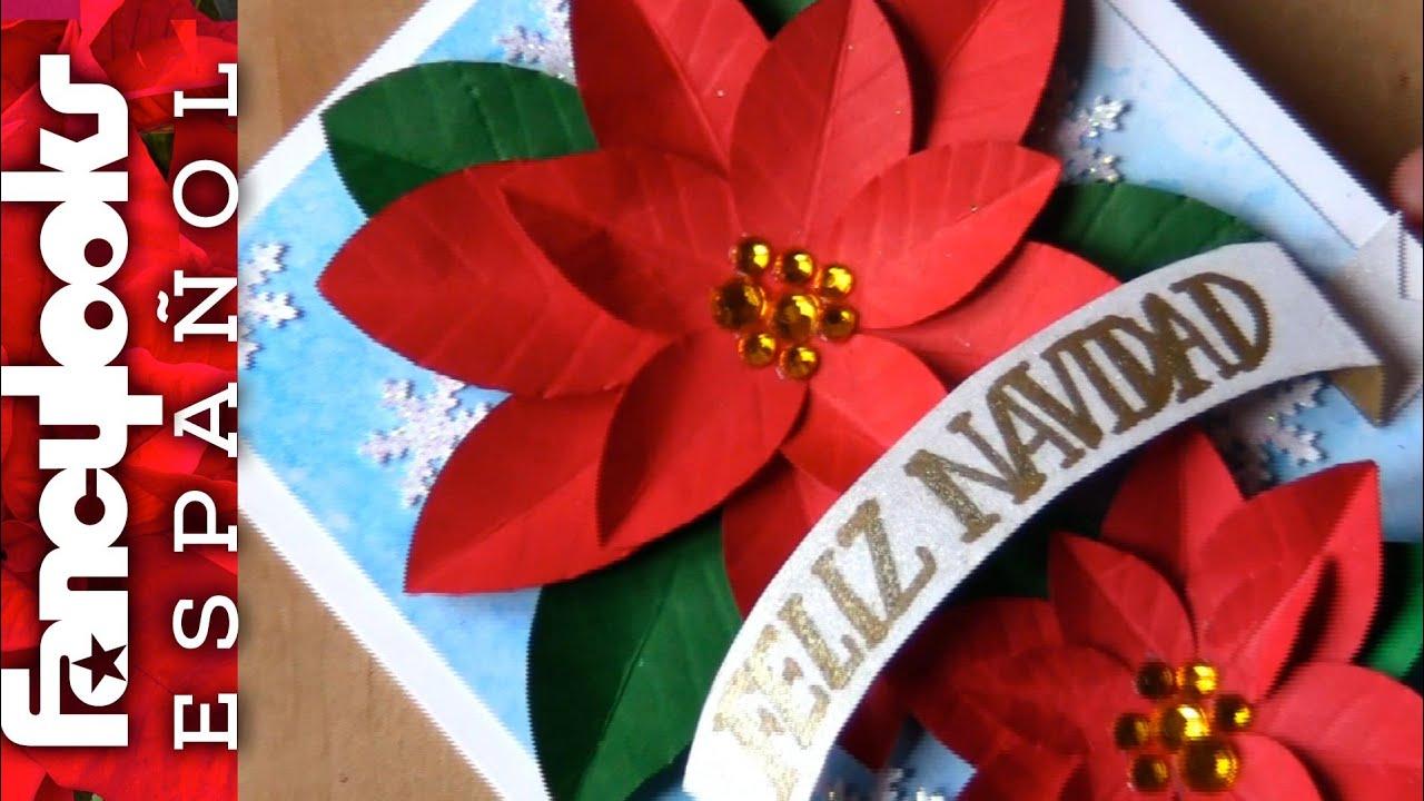 Diy tarjeta de navidad con poinsettias de papel f cil - Hacer una postal de navidad ...