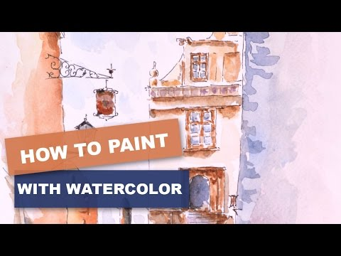 How to paint easy a landscape Watercolor. Urban sketcher