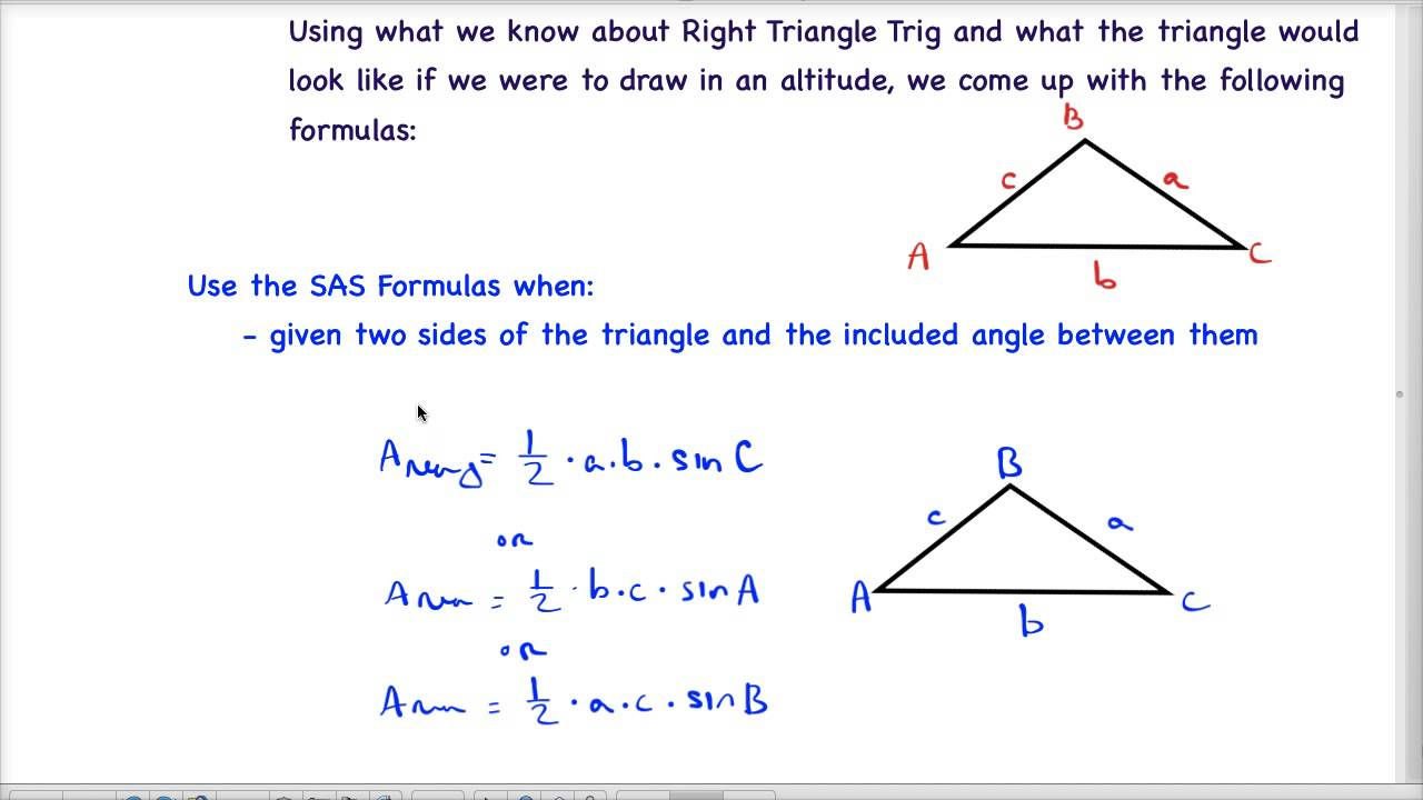 precalc - triangle area formulas