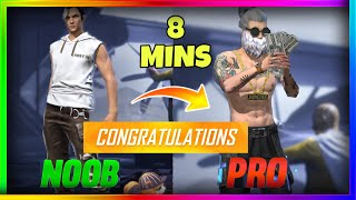 Free Fire new account to *PRO* gift in 8 min - look how it became😱🔥