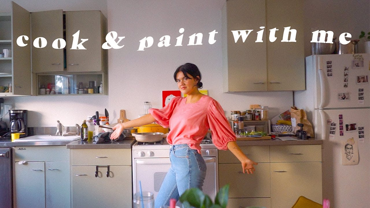 Cook Dinner and Paint with Me! chill night at home talking about our feelings