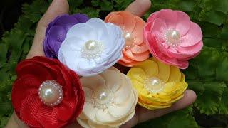 Lindos modelos de flores de fita – Passo a passo