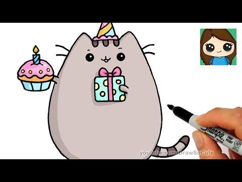 How To Draw Happy Birthday Pusheen Cat
