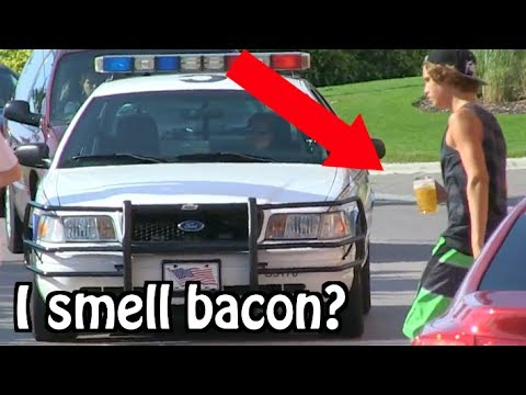 "Kids Drinking Beer PRANK ON COPS... ""I THINK I SMELL BACON"""