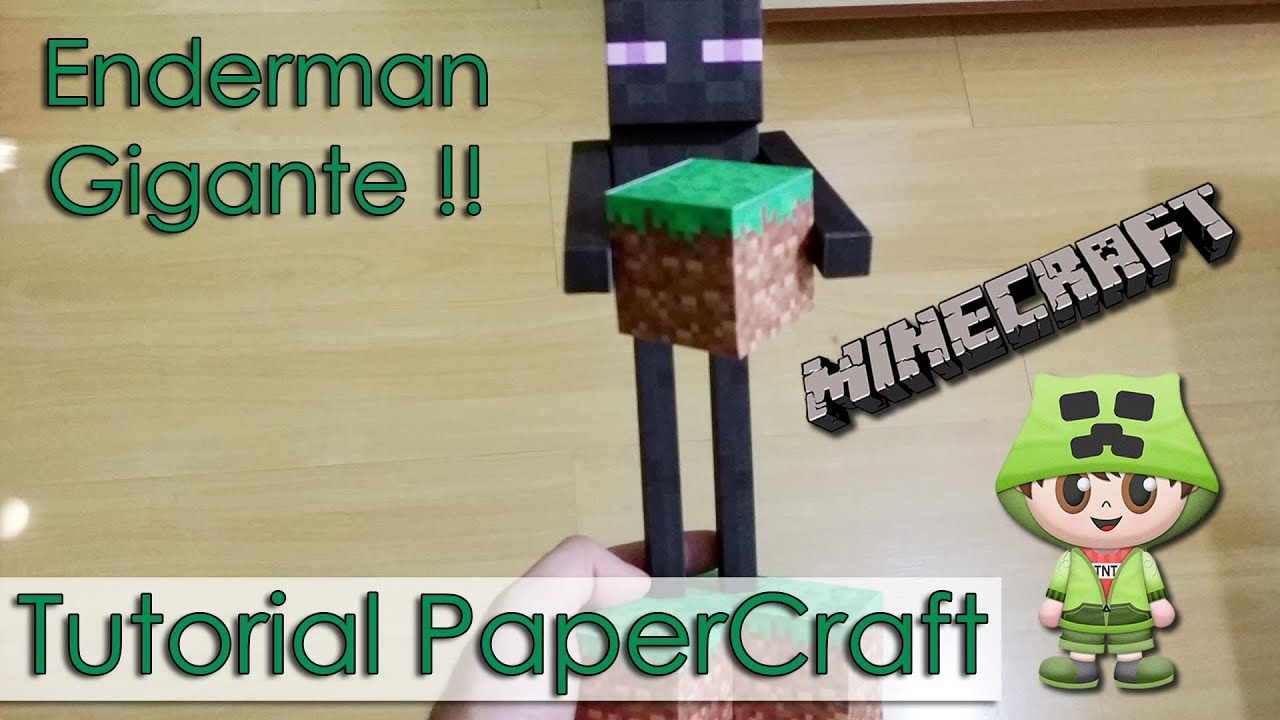 Papercraft Tutorial PaperCraft Minecraft - Enderman Gigante !!