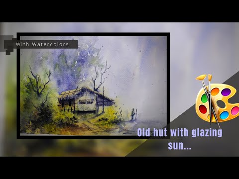 Watercolor landscape painting/ Old bamboo hut – with gazing Sun/ with watercolors/ Artism84