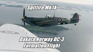 Sola Airshow 2017 - Dakota Norway DC-3/Spitfire Mk IX Formation - Onboard Footage