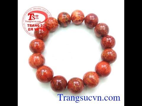 Vòng tay san hô đỏ, vòng tay đá phong thủy đẹp, TSVN015575