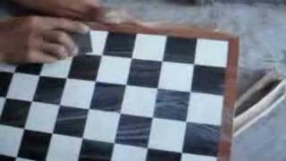 Handicraft chessboard: polish chessboard by emery paper 2