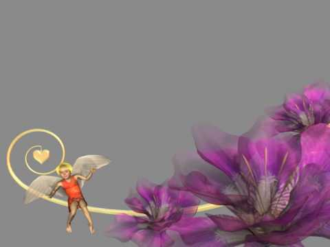 Футаж рамка ангел и цветы слева