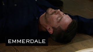 Emmerdale - Cain Knocks Pete Unconscious After His