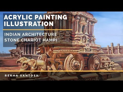 Acrylic landscape painting illustration + Chat | Ancient Indian architecture | Stone chariot Hampi