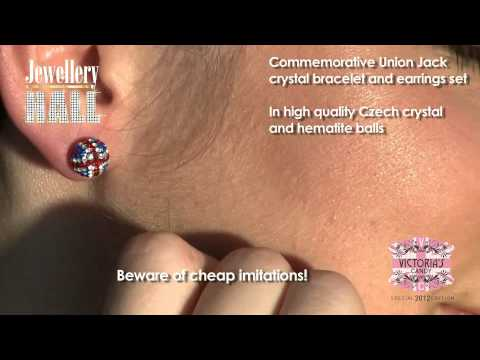 Union Jack Crystal Bracelet And Earrings