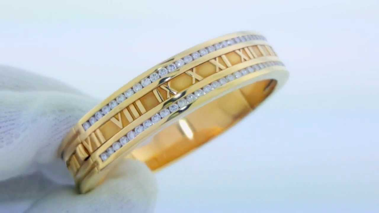 18k Yellow Gold Tiffany Co Diamond Atlas Bangle Bracelet Cuff