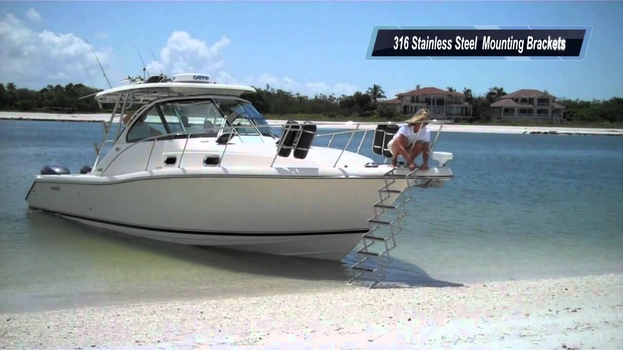 Gr8 White Bow To Beach Accordion Gangplank Boat Ladder
