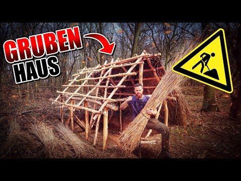 GRUBENHAUS Bushcraft Shelter #009 - Lagerbau - Outdoor Bushcraft Camp | Fritz Meinecke