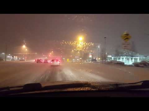 From Walmart to Value Village in Wasilla 1-16-2017 Driving in snow.