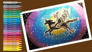 How to draw a unicorn and a fairy beautiful scenery step by step