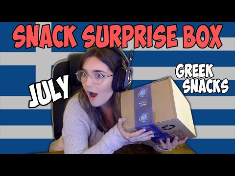 British girl tries Greek food! - *PREMIUM BOX* Snack Surprise July