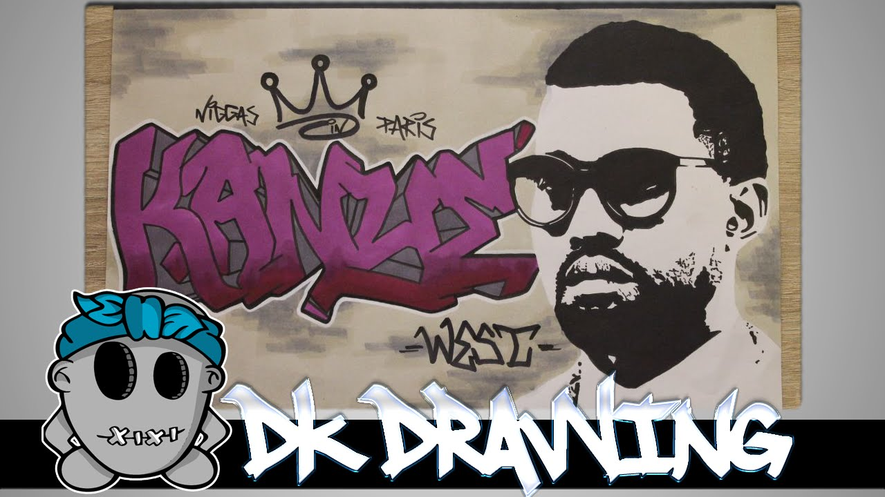 Kanye West Graffiti Letters & Stencil Drawing